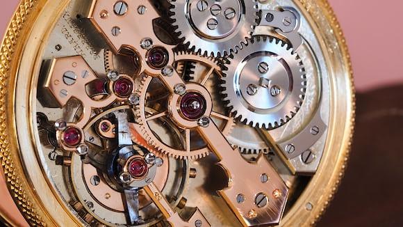 Girard Perregaux pocket chronometer, movement image, 3/4 view