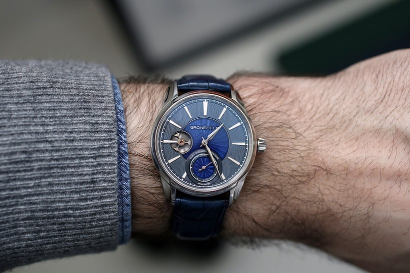 Grönefeld 1941 Remontoire enamel dial wrist shot