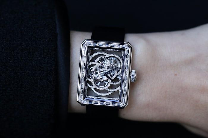 Chanel Première Camélia Skeleton Watch diamond movement