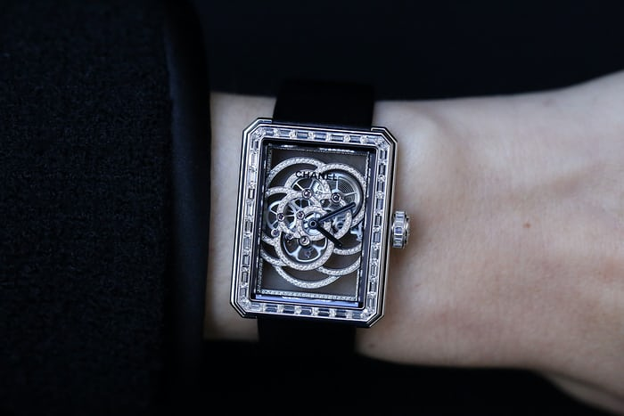 Chanel Première Camélia Skeleton Watch diamond movement