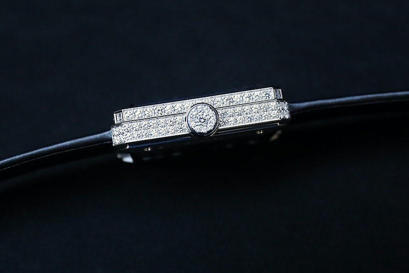 Chanel Première Camélia Skeleton Watch case side