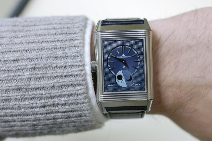 Jaeger-LeCoultre Reverso Tribute Moon home time wristshot