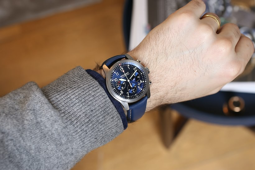 bremont at1-p chronograph blue wristshot