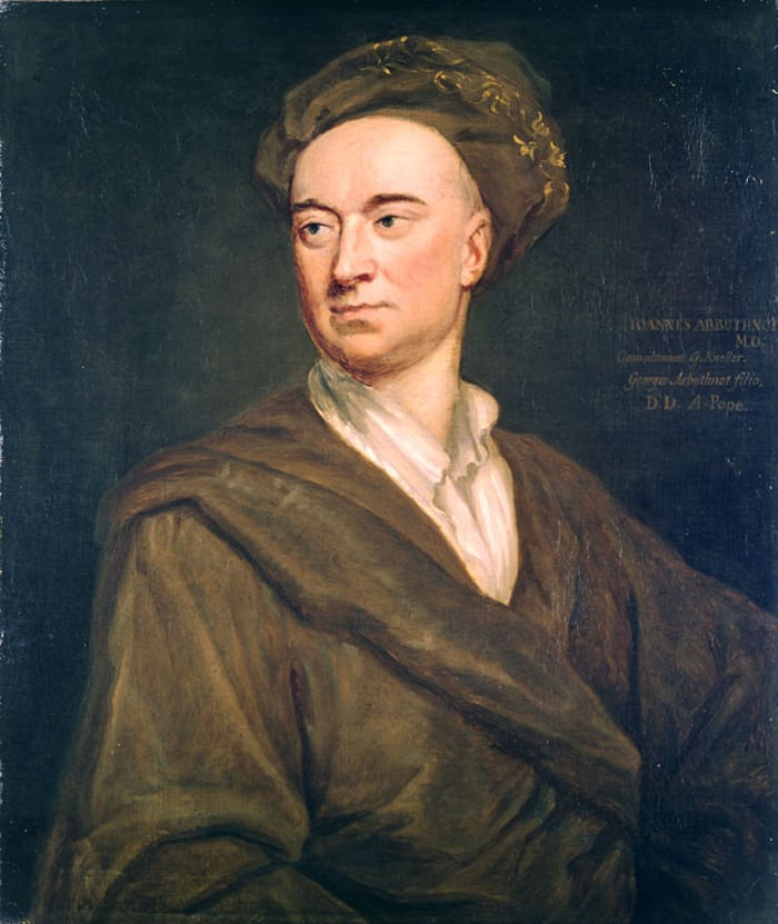 Scientist, physician, and satirist Dr. John Arbuthnot. Portrait by Godfrey Kneller.