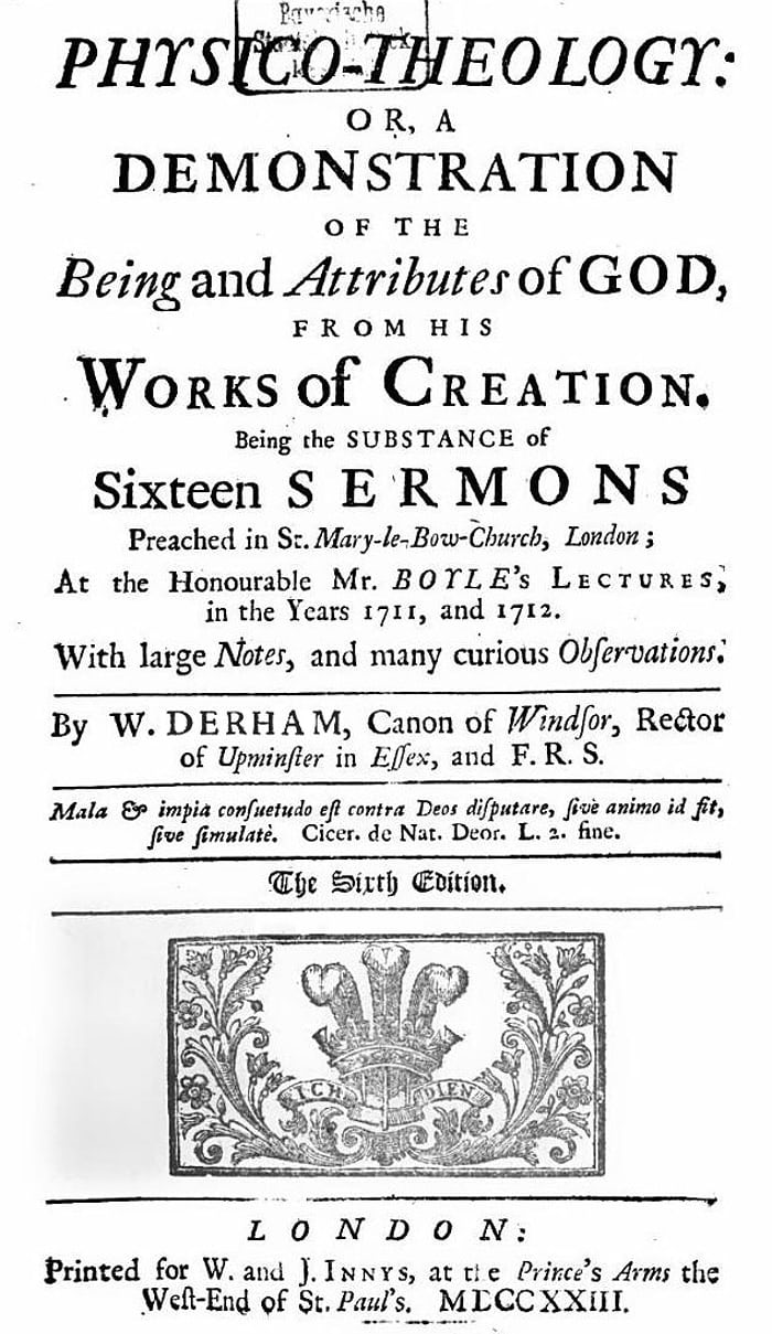 The title page of Derham's Physico-Theology.