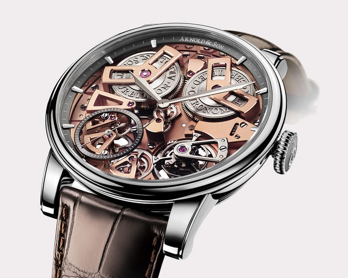 The Arnold & Son Tourbillon Chronometer is a relatively rare example of a chronometer certified tourbillon wristwatch.