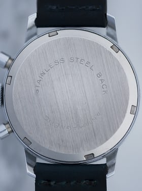 The caseback of the all-black version.