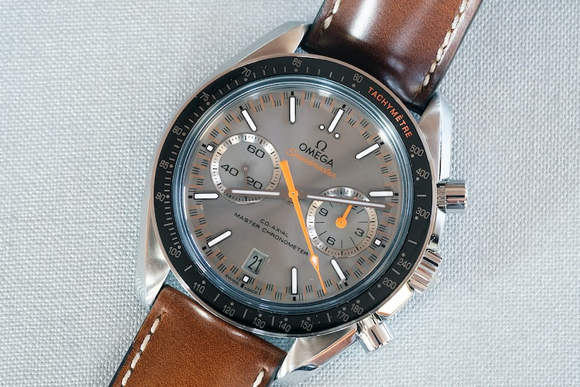 The dark grey version with orange chronograph hands is much sportier than the previous model.
