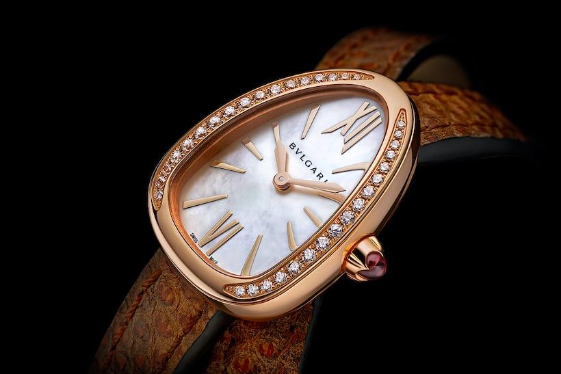 bulgari serpenti brown strap diamonds mother of pearl