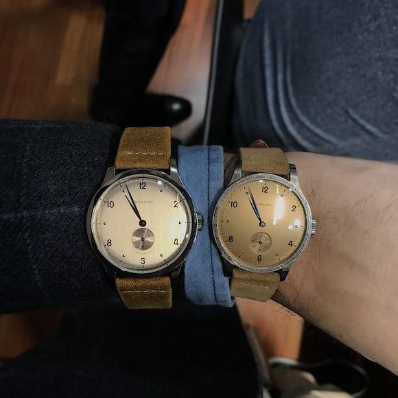 Longines Heritage 1945 wristshot comparison