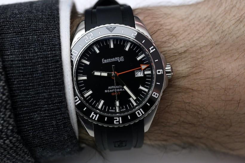 Eberhard Scafograf GMT wristshot