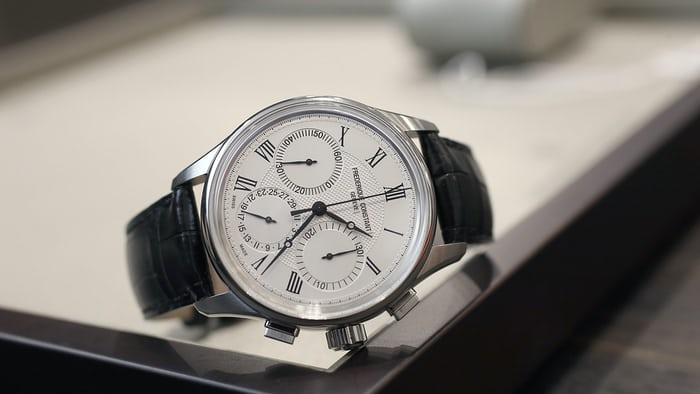 frederique constant manufacture chronograph flyback steel hobnail