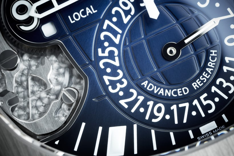 "The Aquanaut Travel Time Ref. 5650G ""Patek Philippe Advanced Research"" dial closeup"