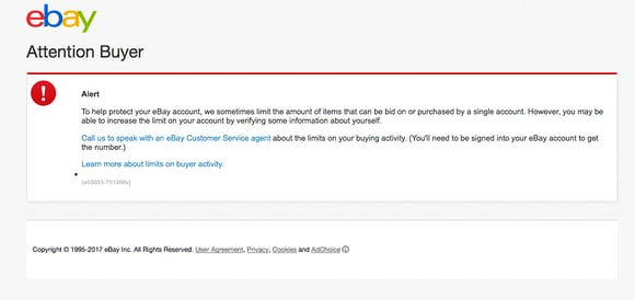 ebay error screen
