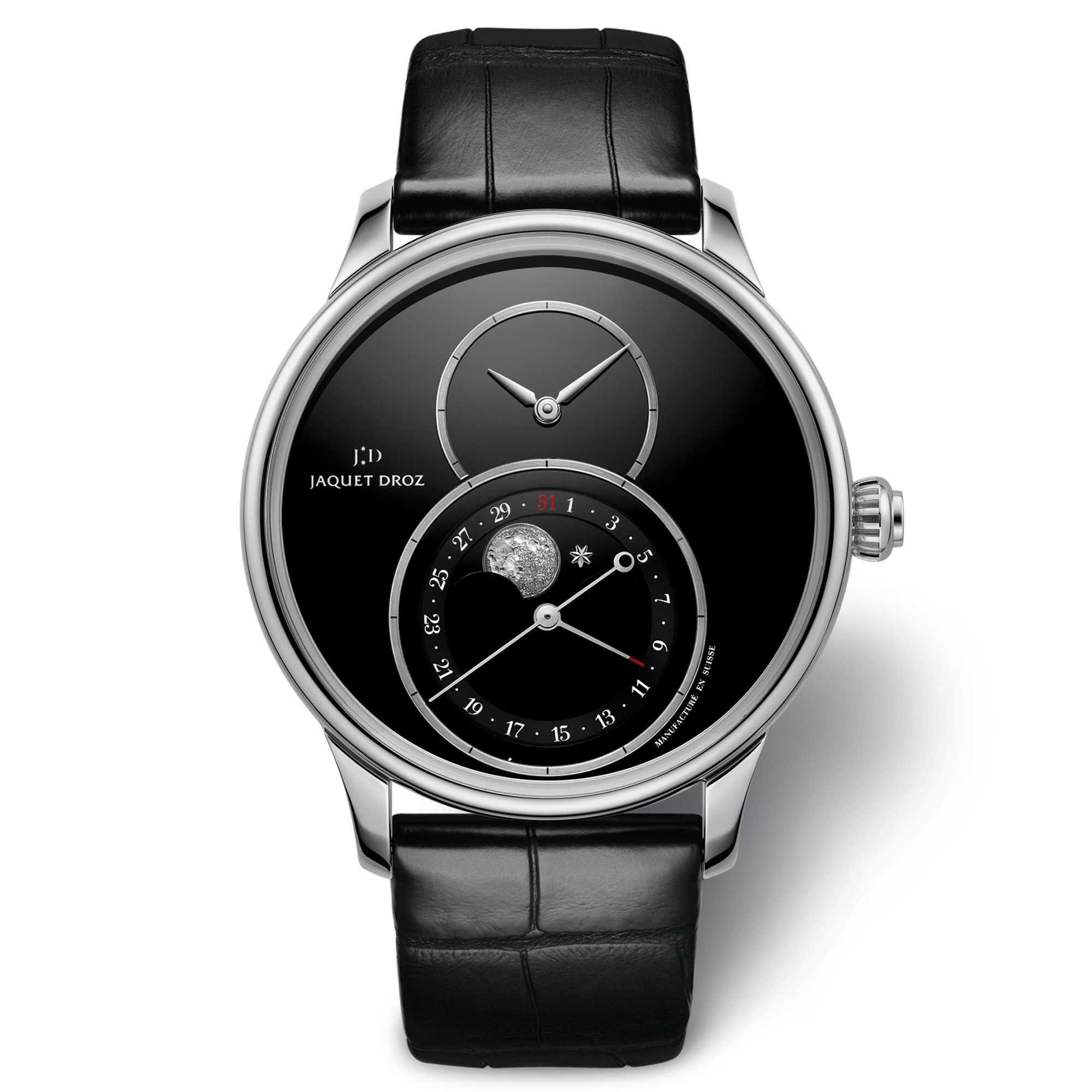 There is also a steel version of this watch with an onyx dial and onyx moonphase disc. Introducing: The Jaquet Droz Grande Seconde Moon Phase Introducing: The Jaquet Droz Grande Seconde Moon Phase jd 03