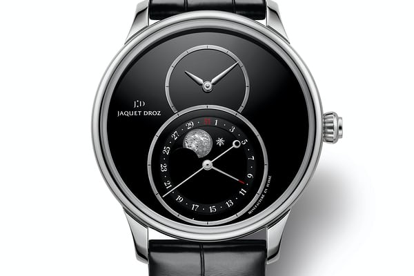 steel jaquet droz grande seconde moon phase onyx dial