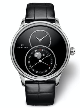 There is also a steel version of this watch with an onyx dial and onyx moonphase disc.
