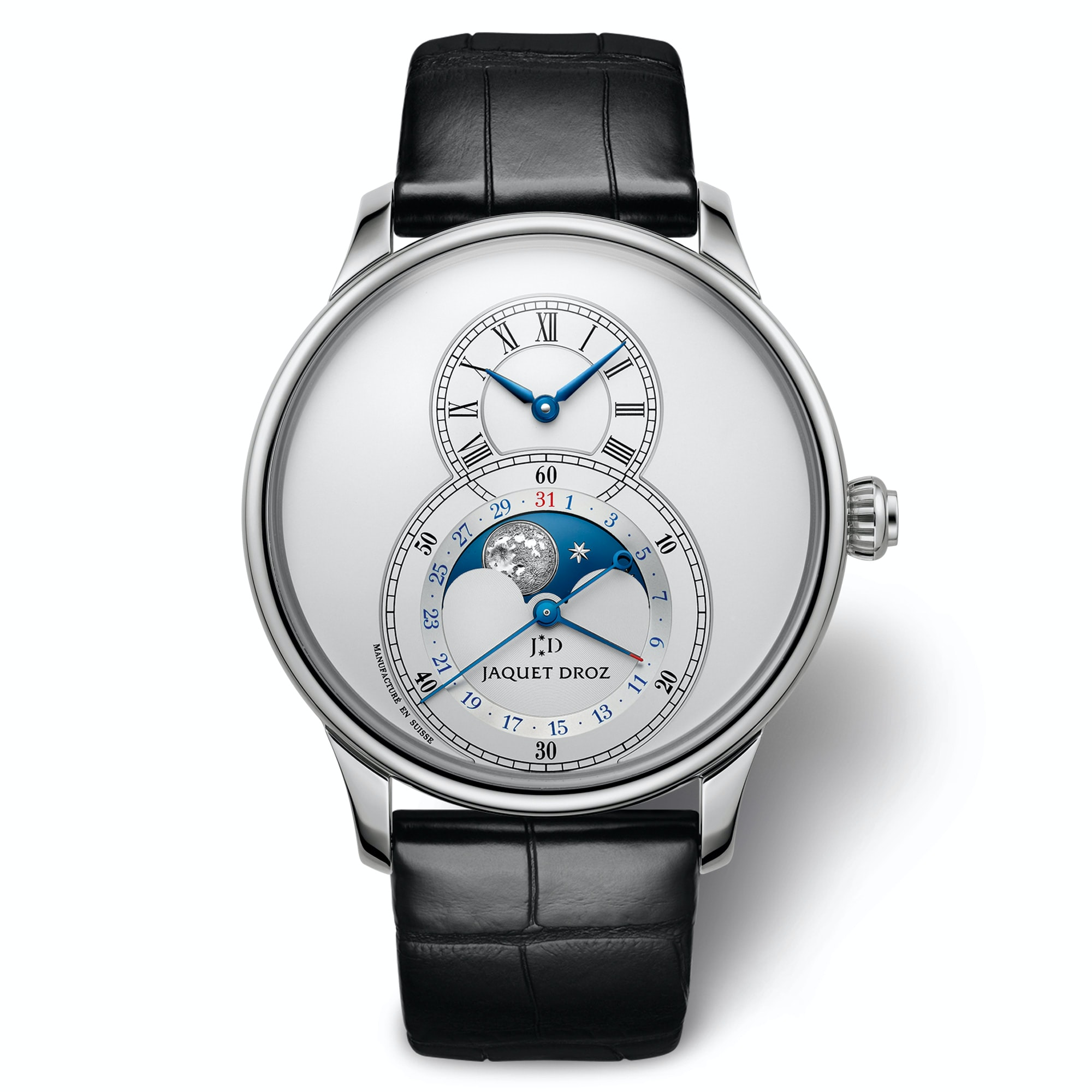The most classic-looking model has a silvered dial with blue hands and a bright blue moonphase disc. Introducing: The Jaquet Droz Grande Seconde Moon Phase Introducing: The Jaquet Droz Grande Seconde Moon Phase jd 04