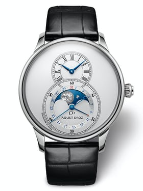 The most classic-looking model has a silvered dial with blue hands and a bright blue moonphase disc.