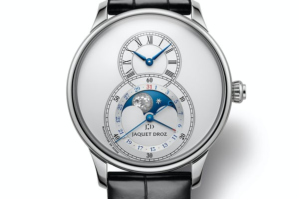 jaquet droz steel silvered dial