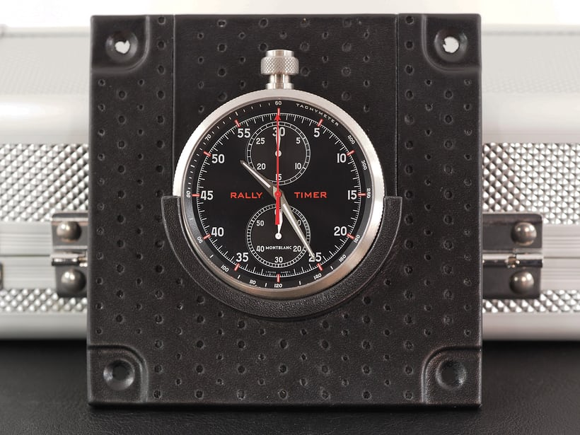 The Montblanc Timewalker Rally Timer 100 in its dashboard holder.