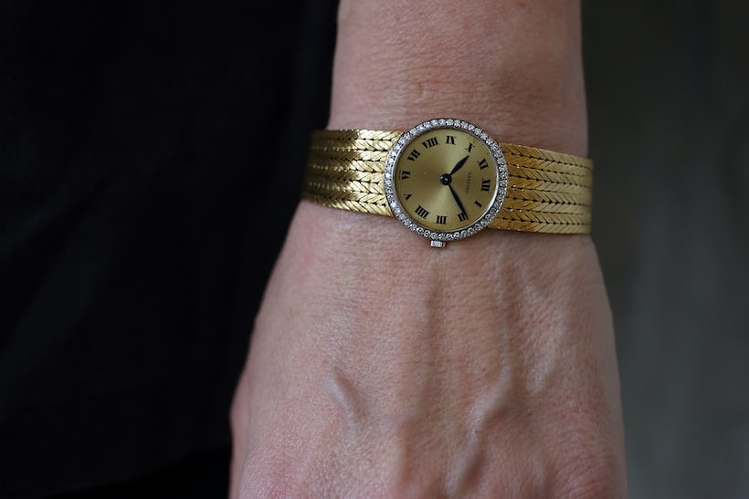 <p>A 23mm yellow gold Cartier with gold bracelet from the late 1960s.</p>