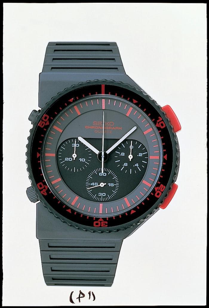 "Ref. 7A28-7000, 1983: the ""Bishop"" Giugiaro chronograph."