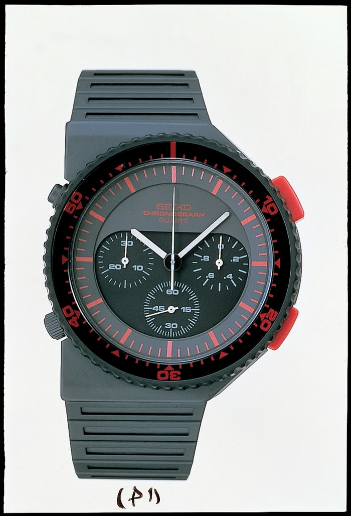 "Ref. 7A28-7000, 1983: the ""Bishop"" Giugiaro chronograph."