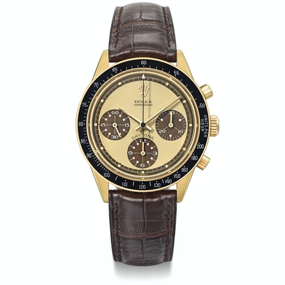18k Gold Paul Newman Daytona Ref. 6264 With Lemon Dial And Tropical Subdials