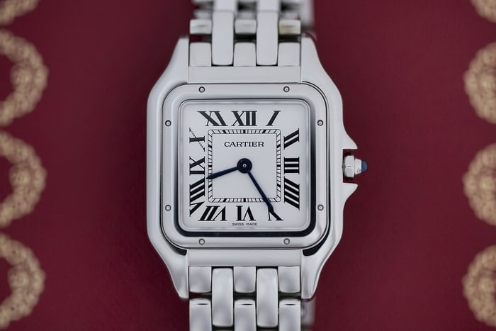 cartier panther steel watch
