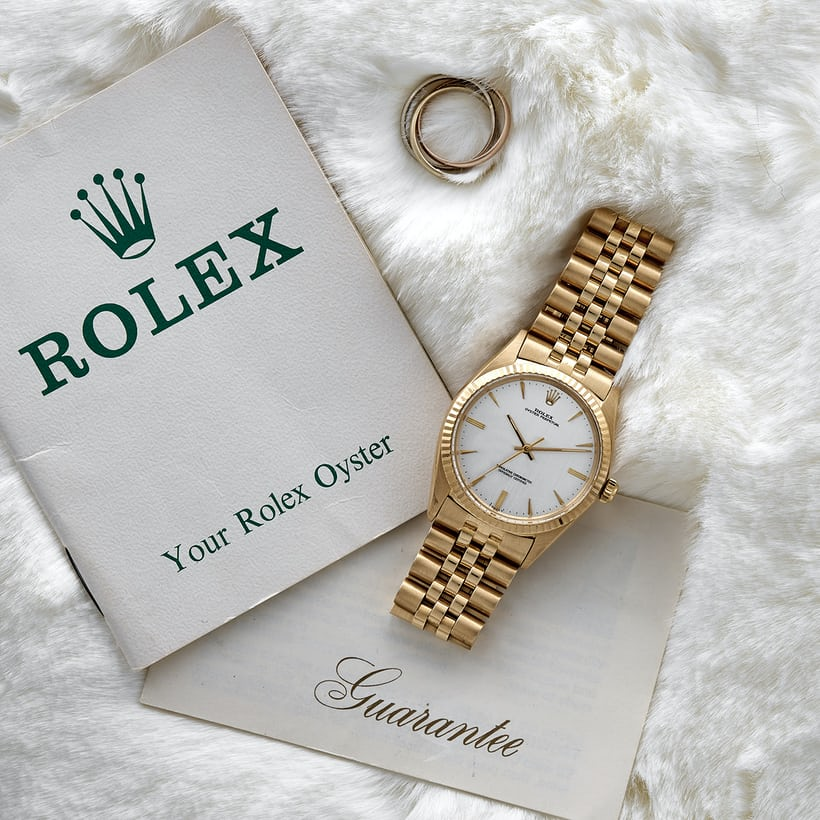 1966 Rolex Oyster Perpetual Reference 1013 with Papers In The Shop: A 1985 Rolex GMT-Master II 'Fat Lady' Reference 16760, A 1970s Zenith Chronograph With Black PVD Case, And A 1950s Ernest Borel Incastar 'Dato-Compax' In The Shop: A 1985 Rolex GMT-Master II 'Fat Lady' Reference 16760, A 1970s Zenith Chronograph With Black PVD Case, And A 1950s Ernest Borel Incastar 'Dato-Compax' 710 RolexOysterPerp Lifestyle