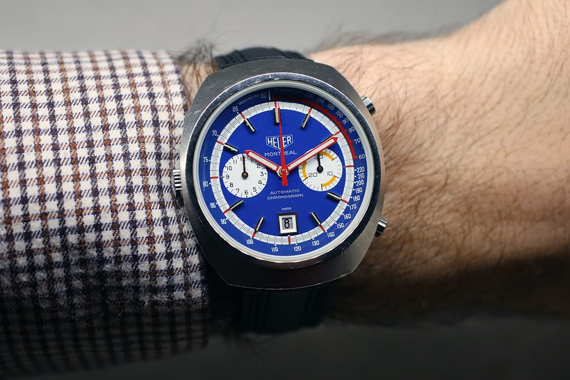 The Heuer Montreal on the wrist.