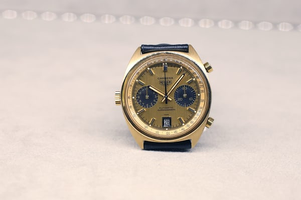 A gold Heuer Carrera made in 1972.