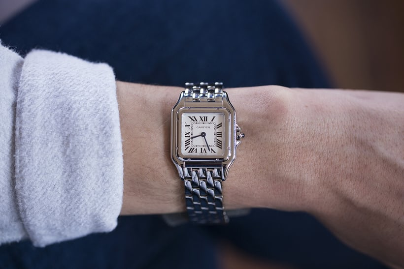 panther cartier steel on the wrist