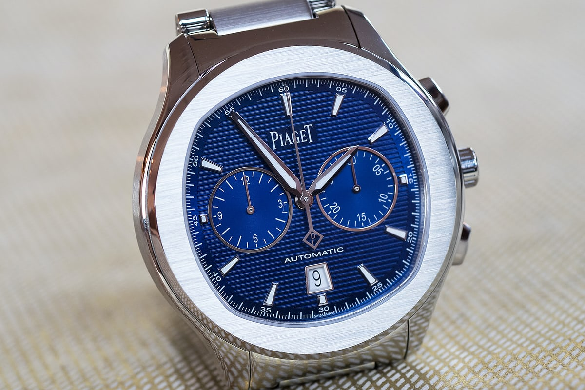 piaget polo s chronograph blue dial wristshot