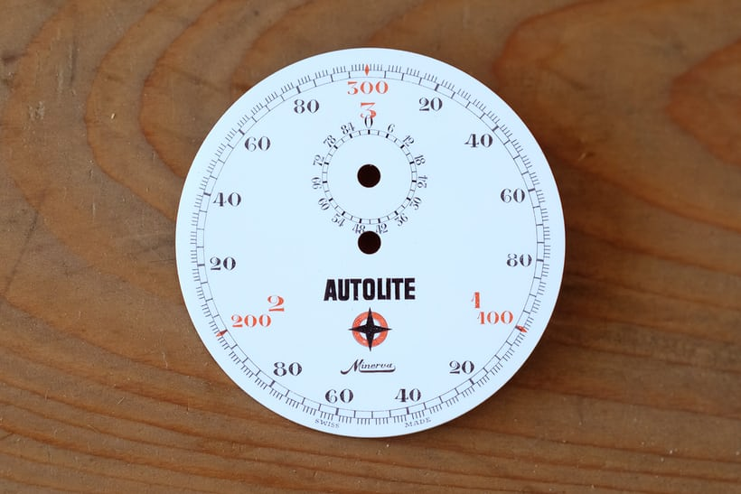 "<p>An extremely unusual Minerva racing timer dial with ""Autolite"" branding.</p>"