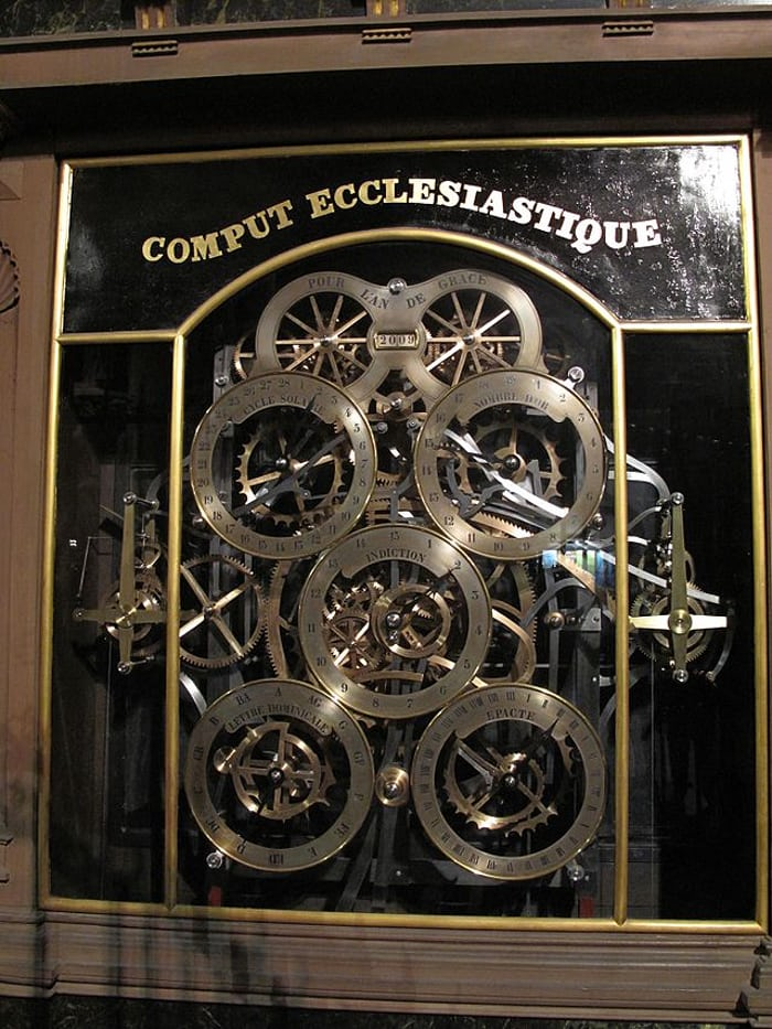 Strasbourg clock computus mechanism