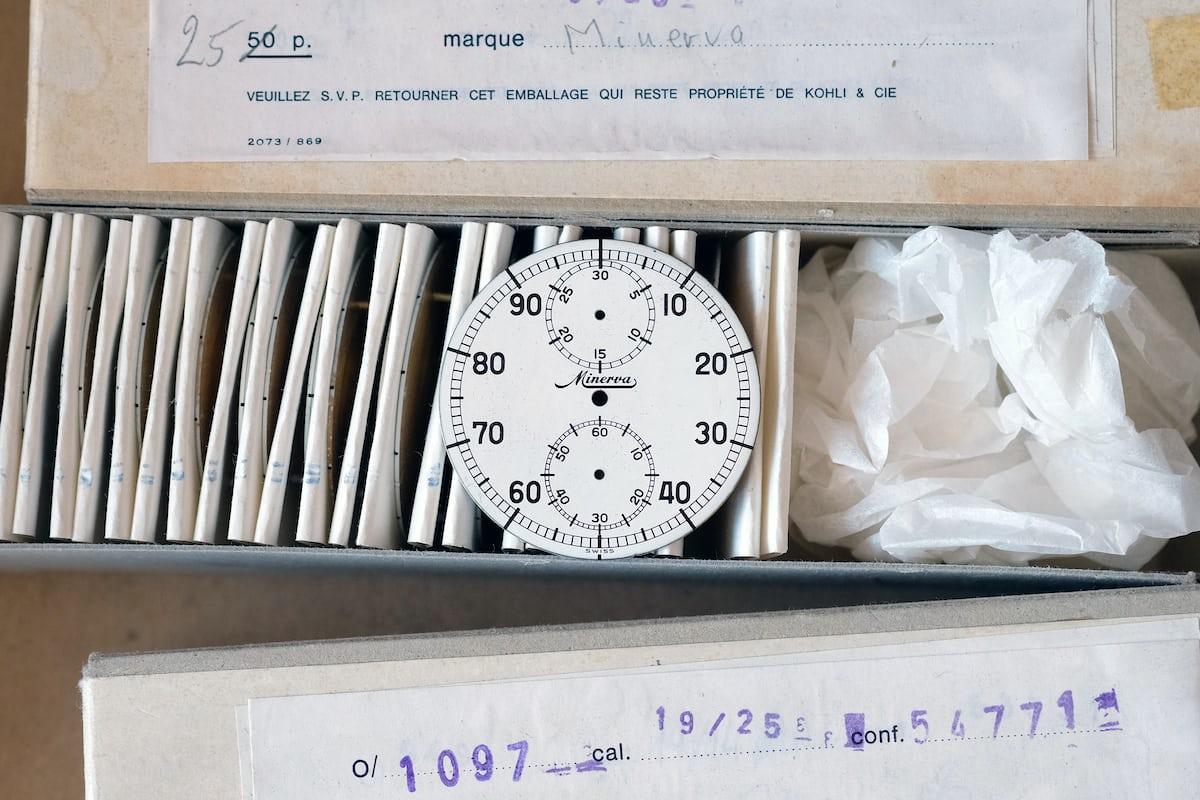 minerva decimal stopwatch dial