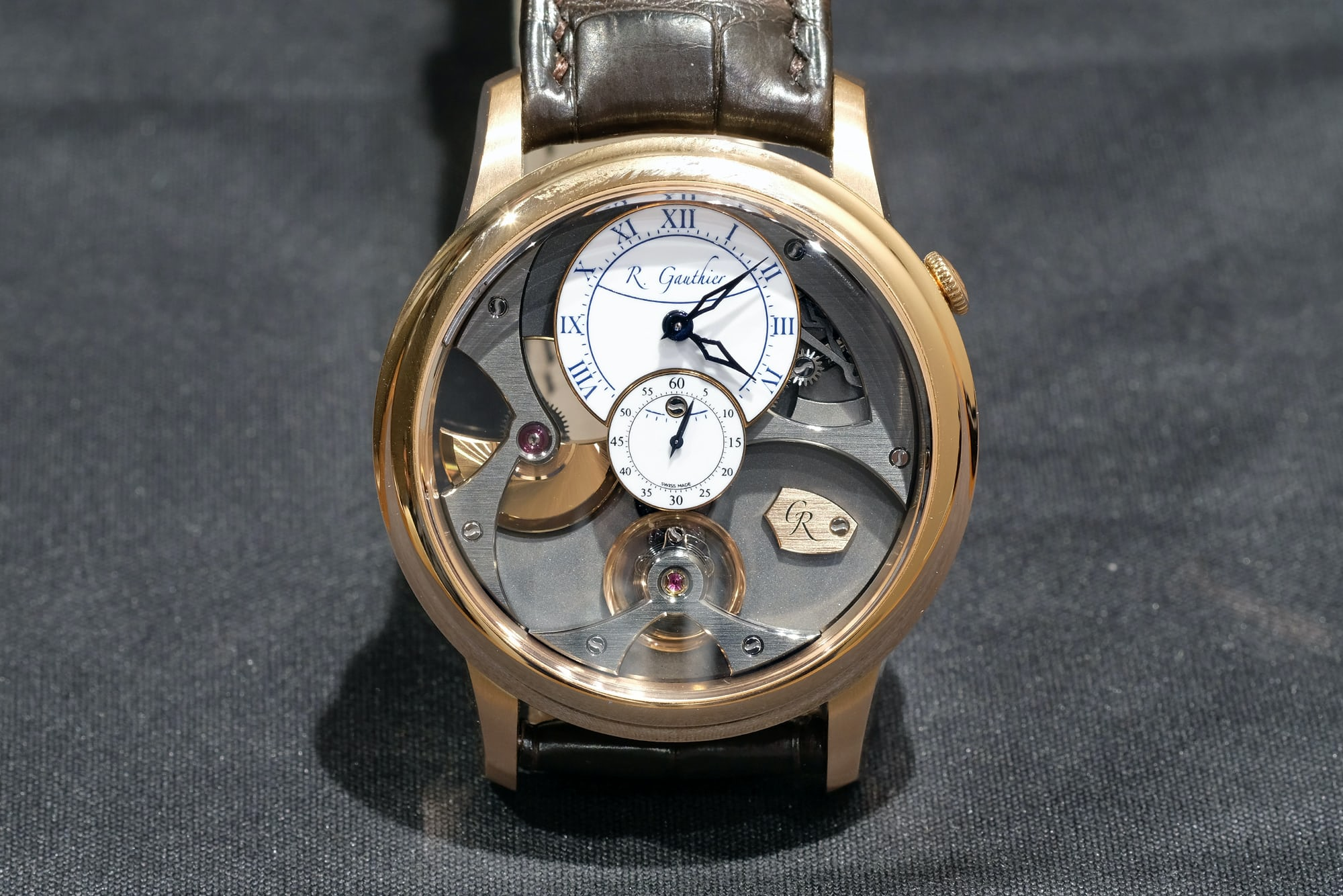 romain gauthier insight micro rotor red gold white dial
