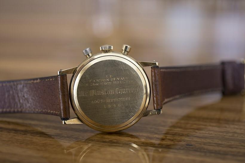 Winston Churchill Yellog Gold Lemania Chronograph Sotheby's Engraving Back