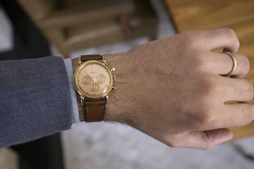 Winston Churchill Yellog Gold Lemania Chronograph Sotheby's on the wrist