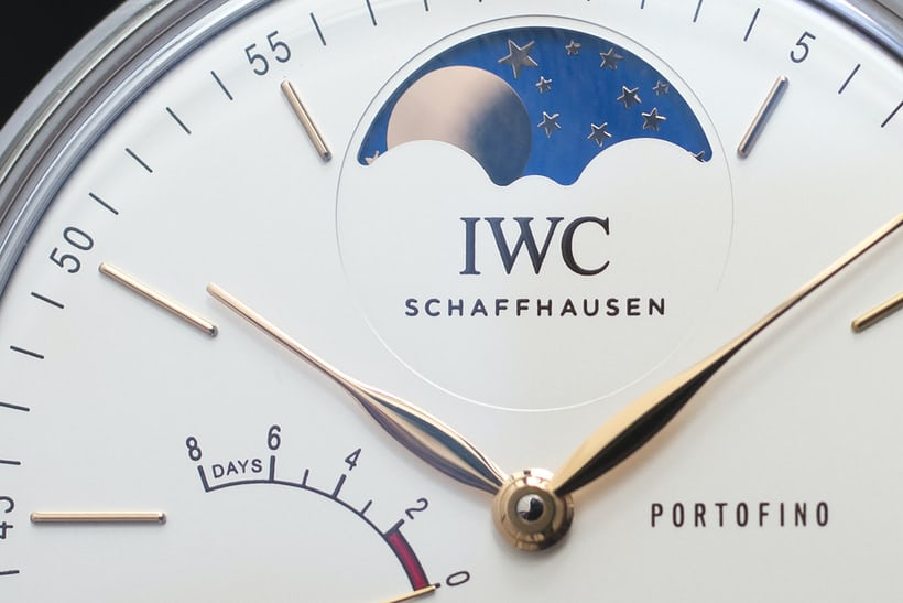 The IWC Portofino Hand-Wound Moon Phase close up.