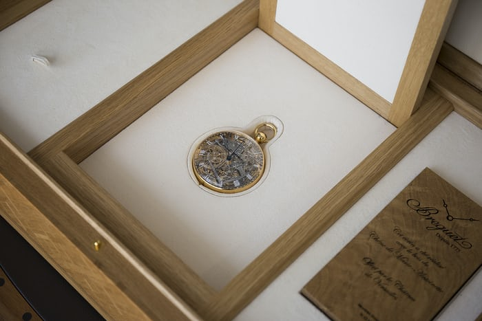 The Breguet Number 1160 Marie-Antoinette replica inside the presentation box.