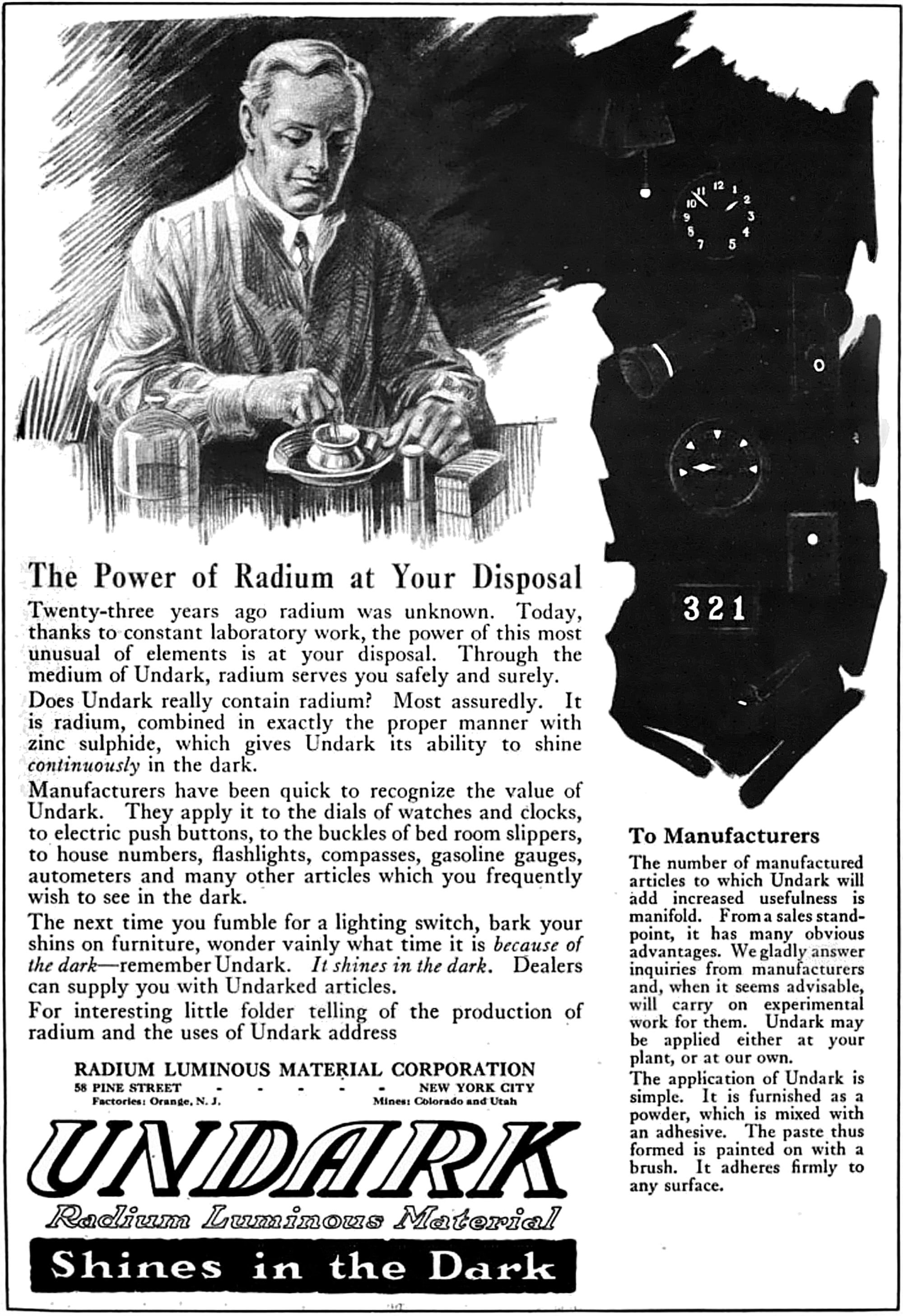 Recommended Reading: New Report Shows Radium Dials Might Pose Serious Danger Undark Radium Girls advertisement 1921 retouched