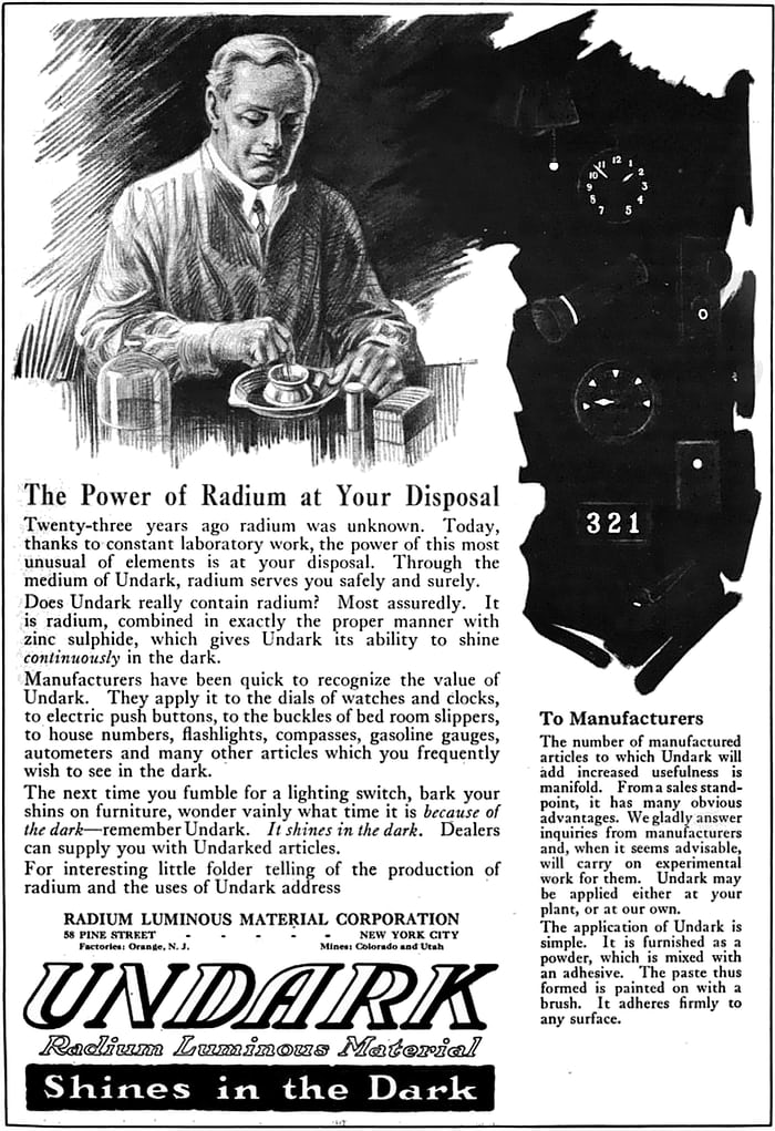 "1921 advertisement for ""Undark"" radium paint"