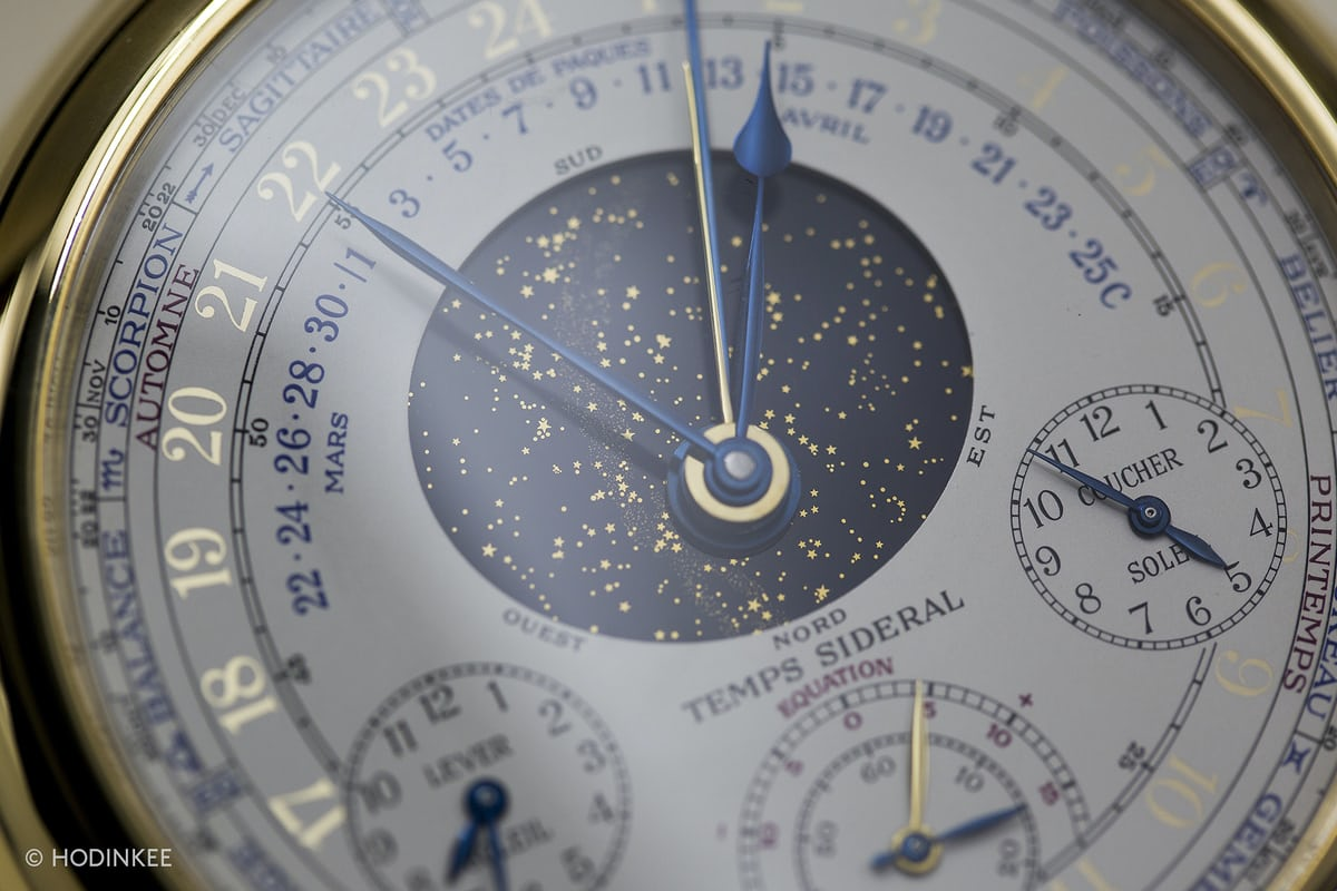 Astronomical dial of the Caliber 89, with indication of sunrise and sunset, the Equation of Time, star chart, position of the Sun along the Plane of the Ecliptic, and the date of Easter.