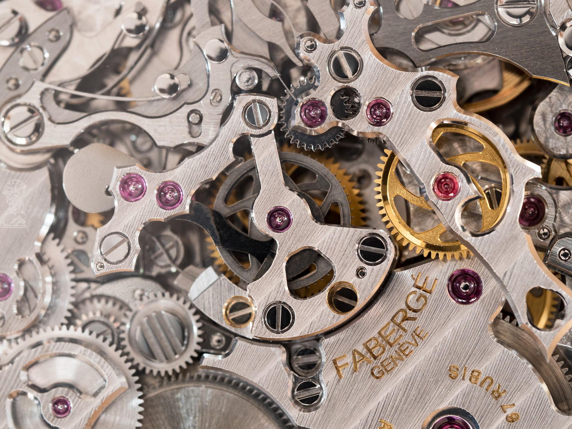 Fabergé Visionnaire Chronograph lateral clutch closeup.
