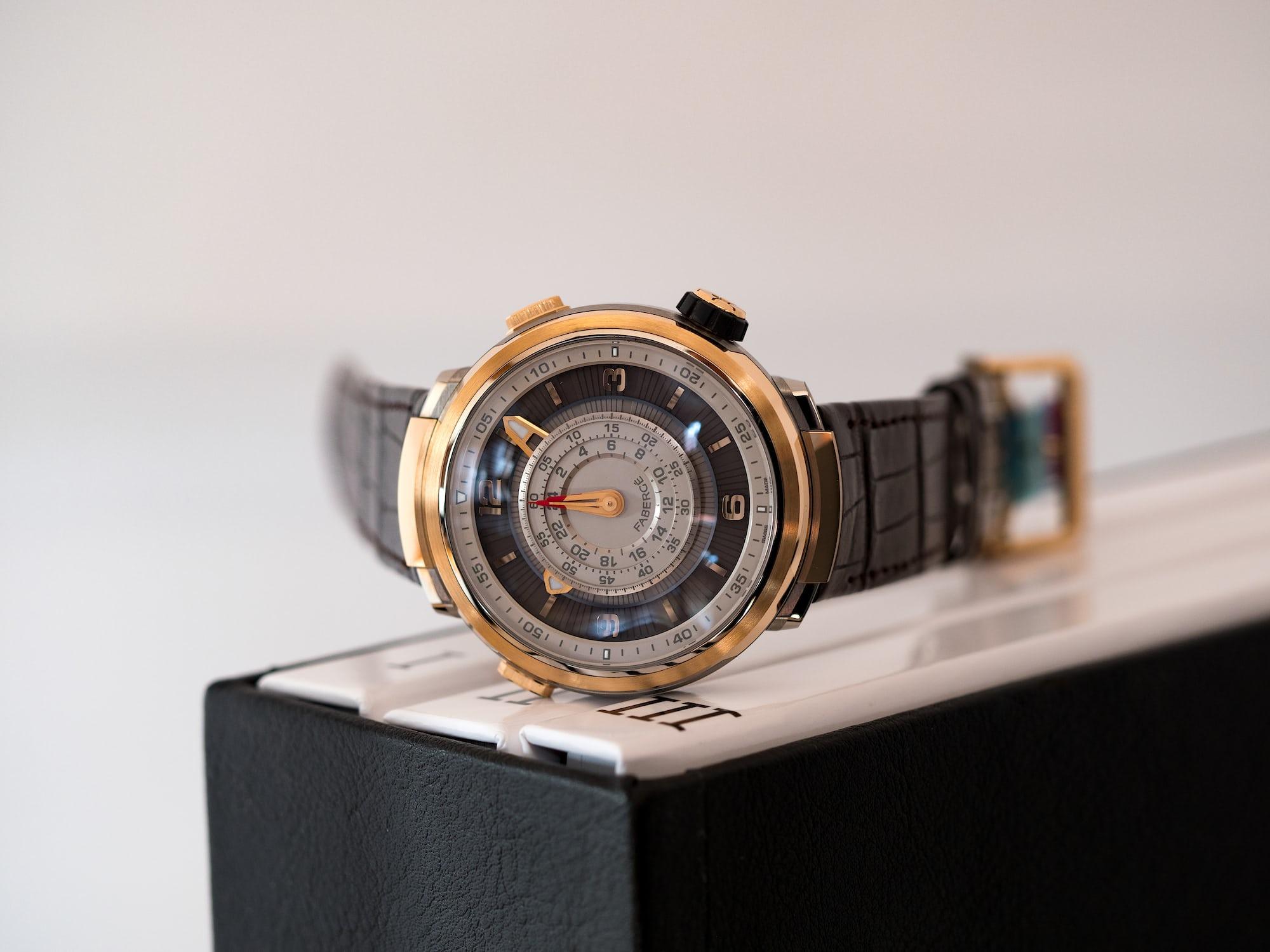 Fabergé Visionnaire Chronograph, dial side, hands set to zero.