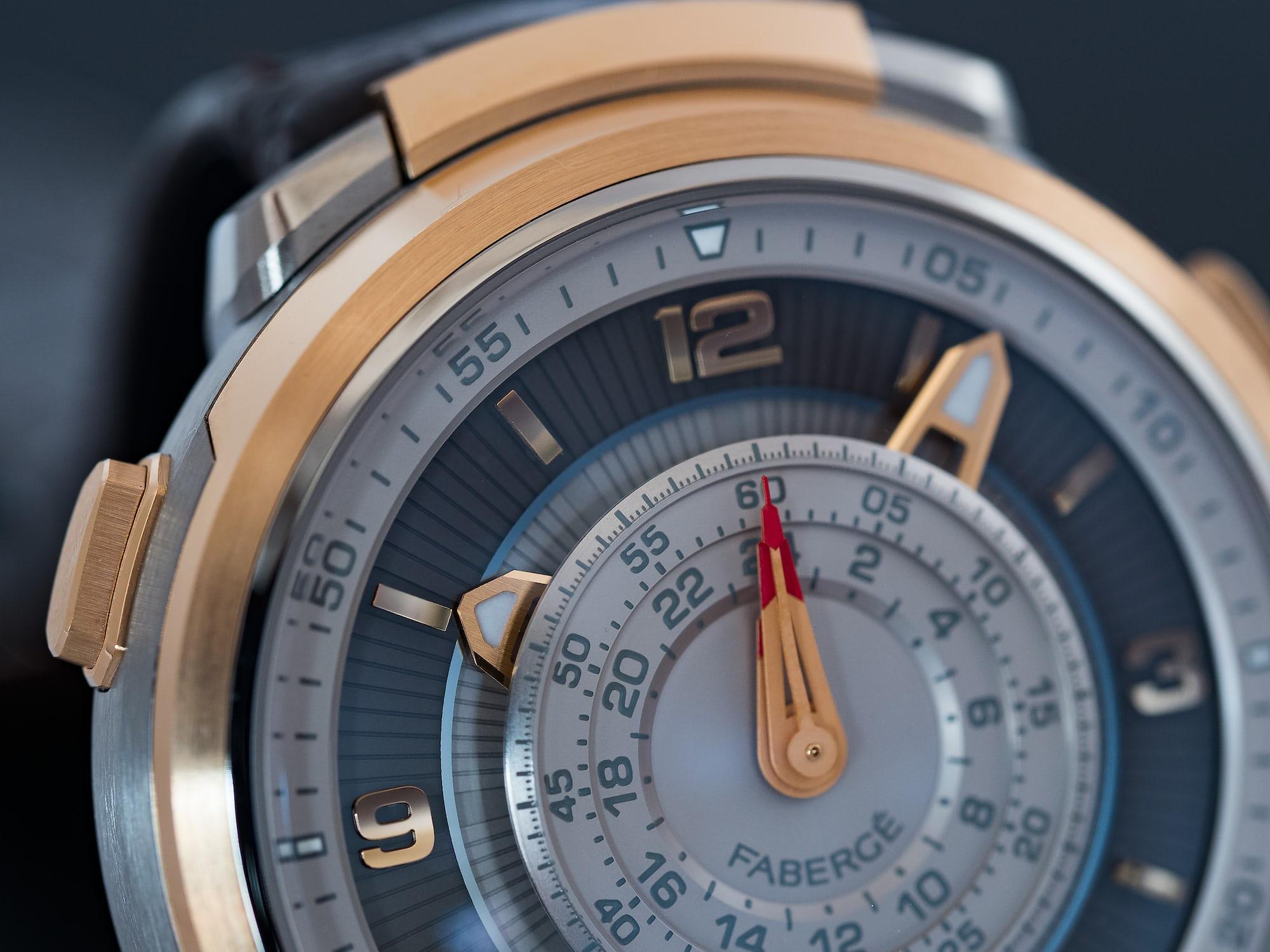 Fabergé Visionnaire Chronograph, arrangement of hands and dial