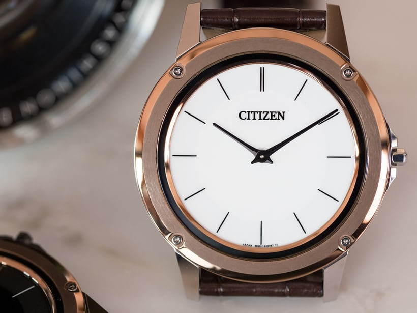Citizen Eco-Drive One white dial closeup